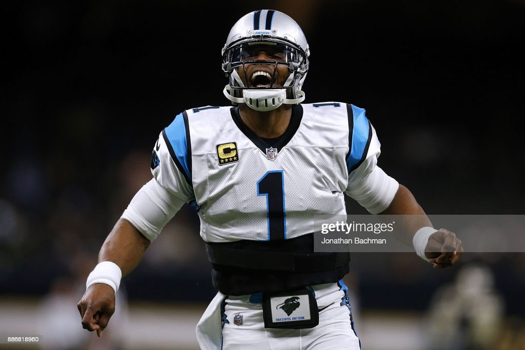 Cam Newton #1 of the Carolina Panthers reacts before a game against the New Orleans Saints at the Mercedes-Benz Superdome on December 3, 2017 in New Orleans, Louisiana.