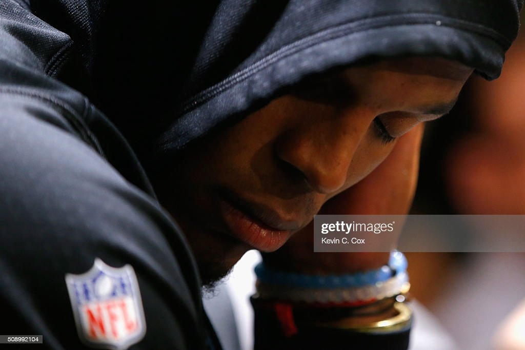 <a gi-track='captionPersonalityLinkClicked' href=/galleries/search?phrase=Cam+Newton+-+American+Football+Quarterback&family=editorial&specificpeople=4516761 ng-click='$event.stopPropagation()'>Cam Newton</a> #1 of the Carolina Panthers reacts after the Denver Broncos defeated the Carolina Panthers with a score of 24 to 10 to win Super Bowl 50 at Levi's Stadium on February 7, 2016 in Santa Clara, California.