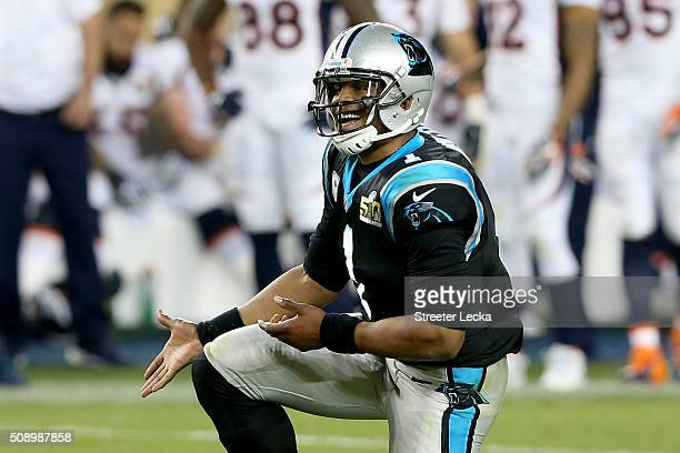 Cam Newton of the Carolina Panthers reacts during the second half of Super Bowl 50 against the Denver Broncos at Levi's Stadium on February 7 2016 in...