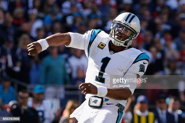 Cam Newton of the Carolina Panthers reacts during the second half against the New England Patriots at Gillette Stadium on October 1 2017 in Foxboro...