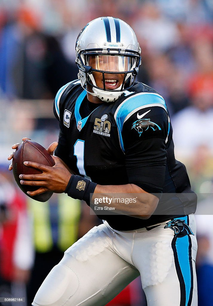 <a gi-track='captionPersonalityLinkClicked' href=/galleries/search?phrase=Cam+Newton+-+American+Football+Quarterback&family=editorial&specificpeople=4516761 ng-click='$event.stopPropagation()'>Cam Newton</a> #1 of the Carolina Panthers runs on the field against the Denver Broncos in the first quarter during Super Bowl 50 at Levi's Stadium on February 7, 2016 in Santa Clara, California.