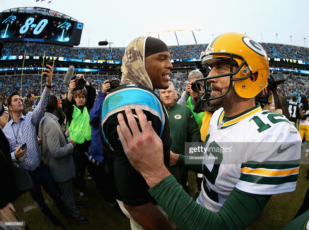 Cam Newton #1 of the Carolina Panthers shakes hands with Aaron Rodgers #12 of the Green Bay Packers after the Panthes defeated the Packers 37-29 at Bank of America Stadium on November 8, 2015 in Charlotte, North Carolina.