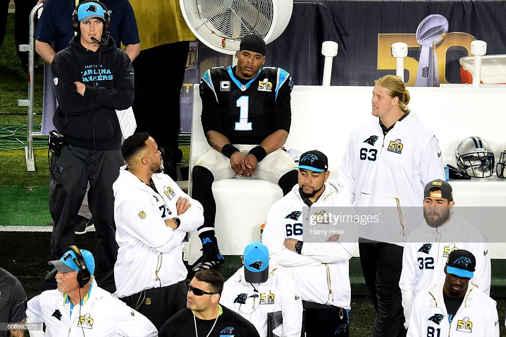 <a gi-track='captionPersonalityLinkClicked' href=/galleries/search?phrase=Cam+Newton+-+American+Football+Quarterback&family=editorial&specificpeople=4516761 ng-click='$event.stopPropagation()'>Cam Newton</a> #1 of the Carolina Panthers sits on the bench during Super Bowl 50 against the Denver Broncos at Levi's Stadium on February 7, 2016 in Santa Clara, California.