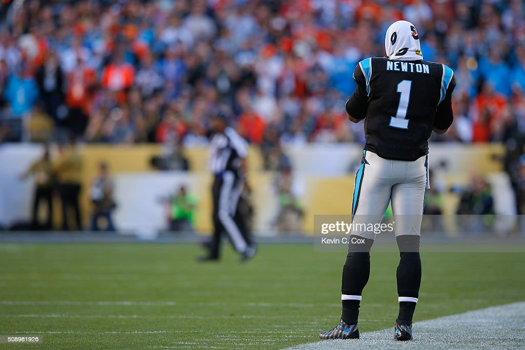 <a gi-track='captionPersonalityLinkClicked' href=/galleries/search?phrase=Cam+Newton+-+American+Football+Quarterback&family=editorial&specificpeople=4516761 ng-click='$event.stopPropagation()'>Cam Newton</a> #1 of the Carolina Panthers stands on the sidelines during Super Bowl 50 against the Denver Broncos at Levi's Stadium on February 7, 2016 in Santa Clara, California.