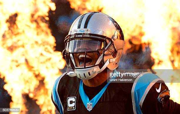 Cam Newton of the Carolina Panthers takes the field against the Tampa Bay Buccaneers at Bank of America Stadium on January 3 2016 in Charlotte North...