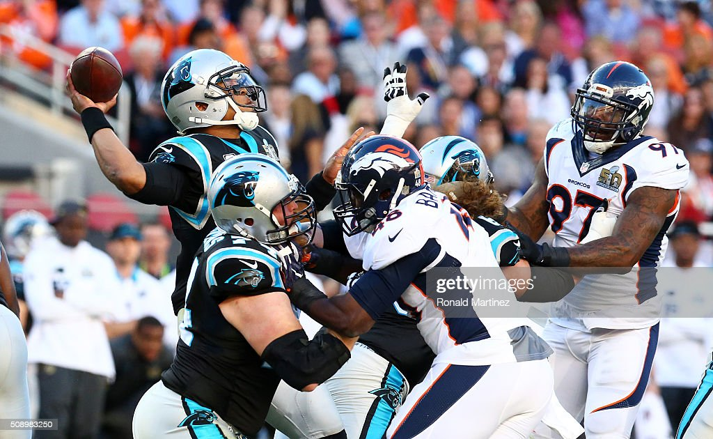 Cam Newton #1 of the Carolina Panthers throws a pass against the Denver Broncos in the first quarter during Super Bowl 50 at Levi's Stadium on February 7, 2016 in Santa Clara, California.