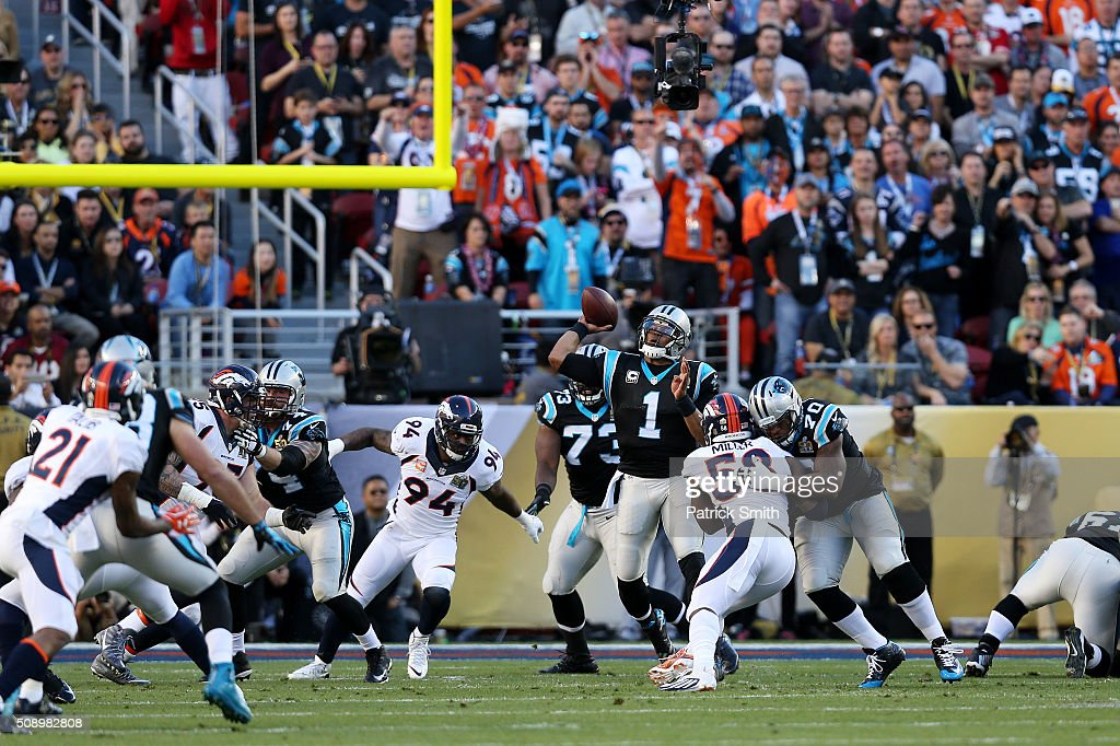 <a gi-track='captionPersonalityLinkClicked' href=/galleries/search?phrase=Cam+Newton+-+American+Football+Player+-+Quarterback&family=editorial&specificpeople=4516761 ng-click='$event.stopPropagation()'>Cam Newton</a> #1 of the Carolina Panthers throws a pass aginst the Denver Broncos in the first quarter during Super Bowl 50 at Levi's Stadium on February 7, 2016 in Santa Clara, California.