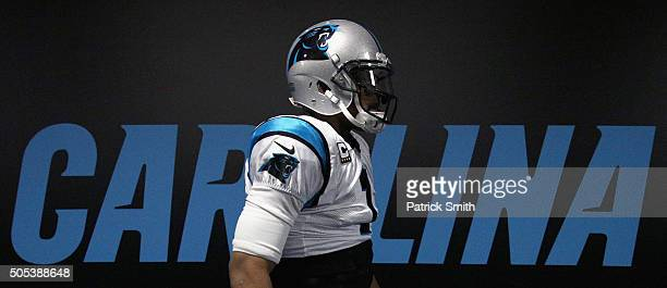 Cam Newton of the Carolina Panthers walks through the tunnel prior to the NFC Divisional Playoff Game against the Seattle Seahawks at Bank of America...