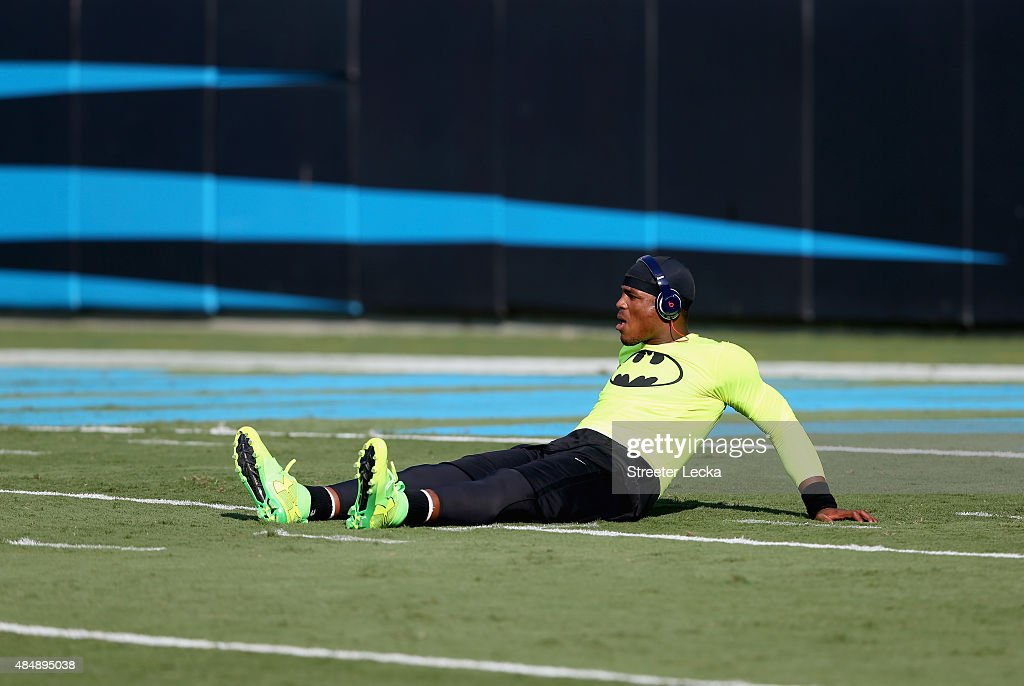 Cam Newton #1 of the Carolina Panthers warms up ahead of their game against the Miami Dolphins at Bank of America Stadium on August 22, 2015 in Charlotte, North Carolina.