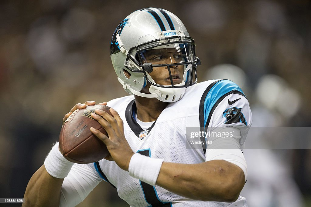 Cam Newton #1 of the Carolina Panthers warms up before a game against the New Orleans Saints at Mercedes-Benz Superdome on December 30, 2012 in New Orleans, Louisiana. The Panthers defeated the Saints 44-38.