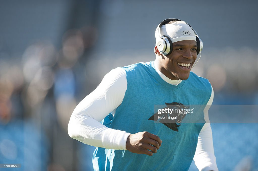 Cam Newton #1 of the Carolina Panthers warms up before the NFC Divisional Playoff Game against the San Francisco 49ers at Bank of America Stadium on January 12, 2014 in Charlotte, North Carolina.