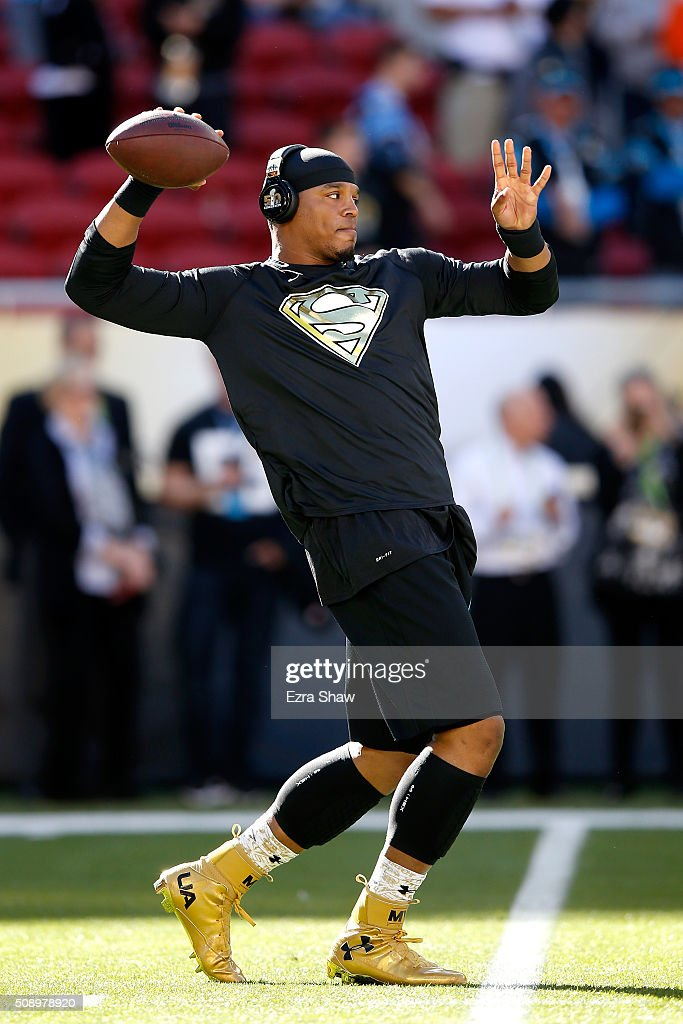 <a gi-track='captionPersonalityLinkClicked' href=/galleries/search?phrase=Cam+Newton+-+American+Football+Quarterback&family=editorial&specificpeople=4516761 ng-click='$event.stopPropagation()'>Cam Newton</a> #1 of the Carolina Panthers warms up prior to Super Bowl 50 against the Denver Broncos at Levi's Stadium on February 7, 2016 in Santa Clara, California.