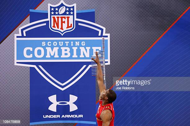 Cam Newton participates in the vertical jump during the 2011 NFL Scouting Combine at Lucas Oil Stadium on February 27 2011 in Indianapolis Indiana
