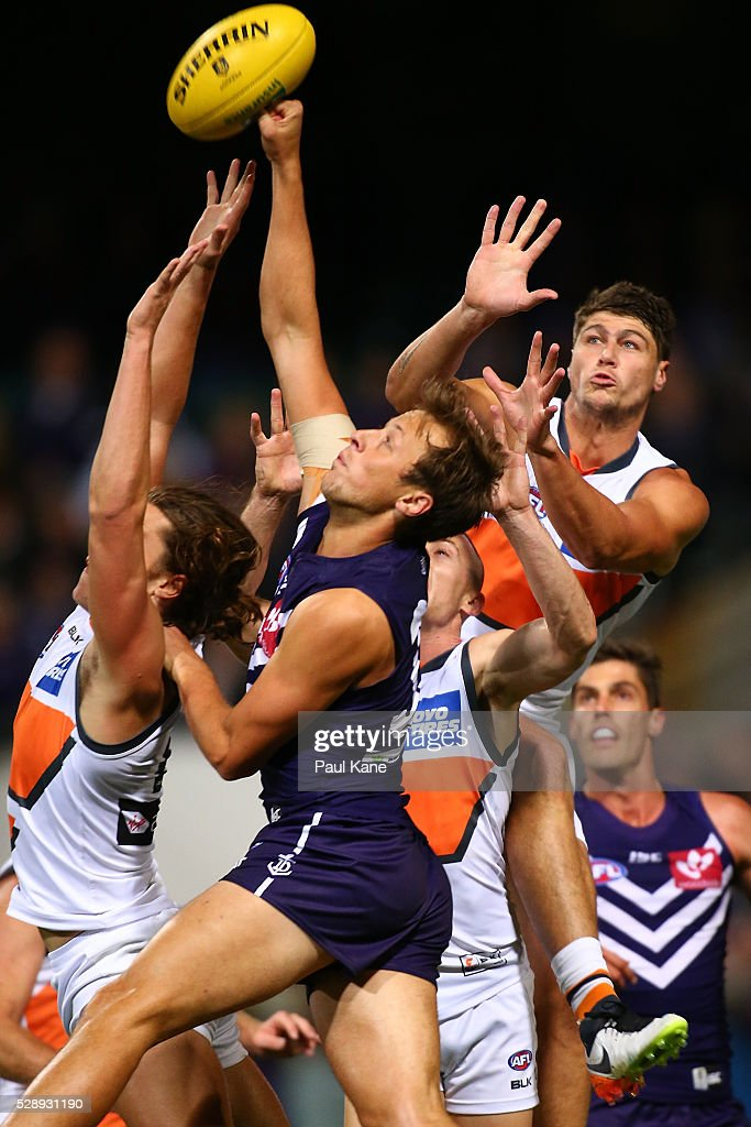 Cam Sutcliffe of the Dockers spoils a mark during the round seven AFL match between the Fremantle Dockers and the Greater Western Sydney Giants at Domain Stadium on May 7, 2016 in Perth, Australia.