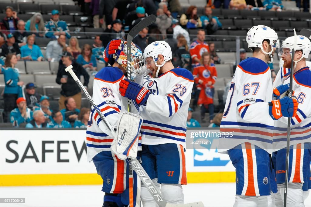 Cam Talbot #33 and Leon Draisaitl #29 of the Edmonton Oilers celebrate the Oilers win over the San Jose Sharks in Game Six of the Western Conference First Round during the 2017 NHL Stanley Cup Playoffs at SAP Center at San Jose on April 22, 2017 in San Jose, California. The Oilers defeated the Sharks 3-1.