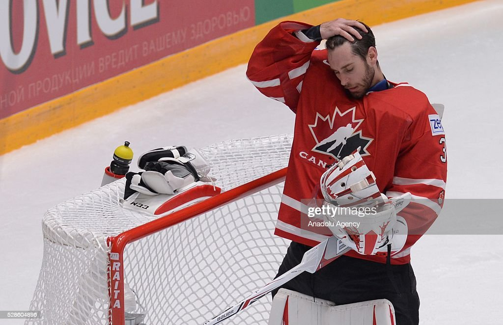 Cam Talbot of Canada relaxes during the IIHF ice hockey world championship preliminary round Group B game between USA and Canada, on May 06, 2016, St. Petersburg, Russia.