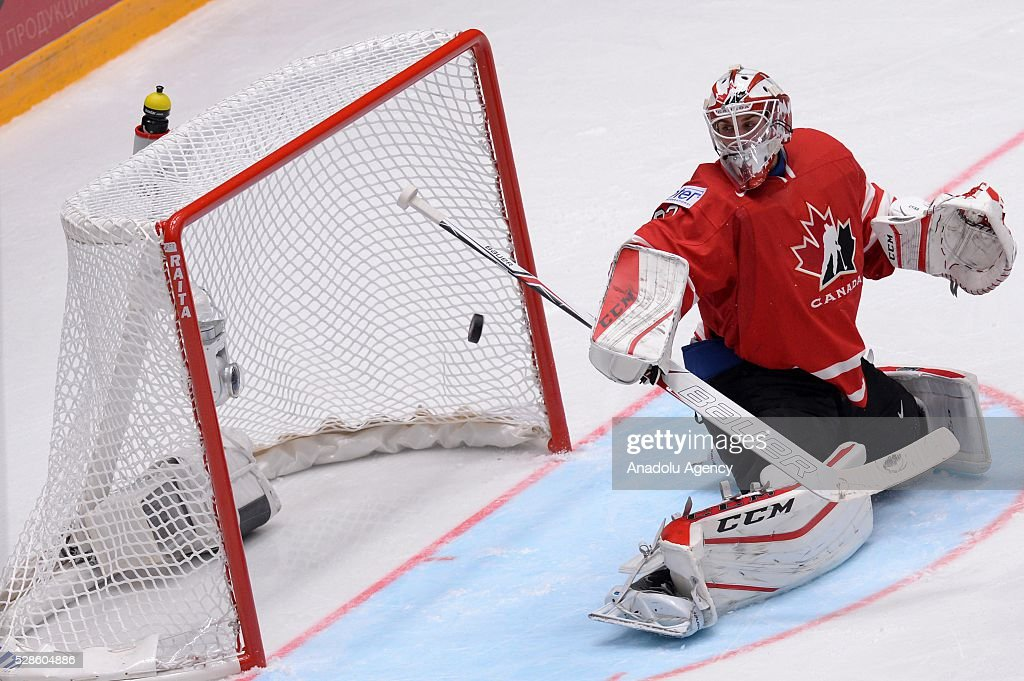 Cam Talbot of Canada watches the puck during the IIHF ice hockey world championship preliminary round Group B game between USA and Canada, on May 06, 2016, St. Petersburg, Russia.