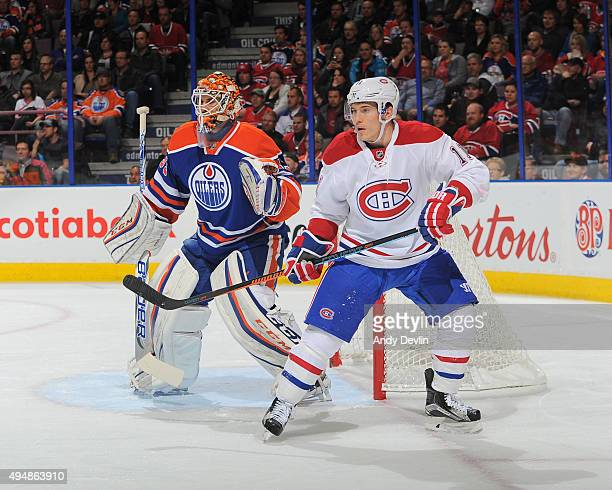 Cam Talbot of the Edmonton Oilers battles for position against Brendan Gallagher of Montreal Canadiens on October 29 2015 at Rexall Place in Edmonton...