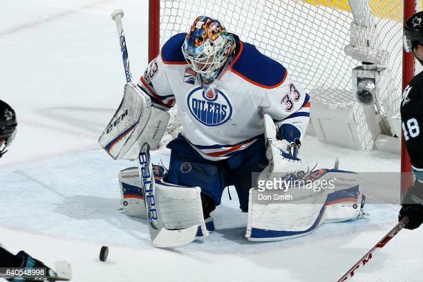 Cam Talbot of the Edmonton Oilers blocks a shot during a NHL game against the San Jose Sharks at SAP Center at San Jose on January 26 2017 in San...