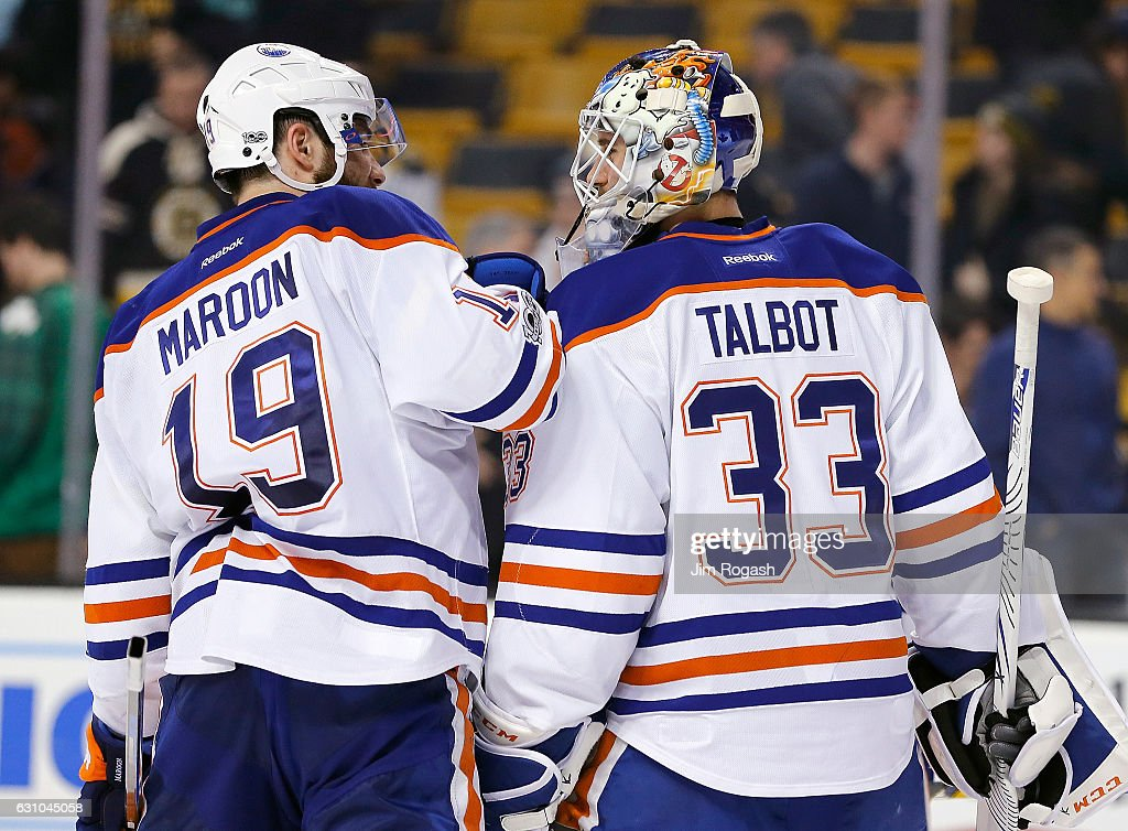 Cam Talbot #33 of the Edmonton Oilers celebrates with Patrick Maroon #19 of the Edmonton Oilers after defeating the Boston Bruins, 4-3, at TD Garden on January 5, 2017 in Boston, Massachusetts. The Oilers won 4-3.