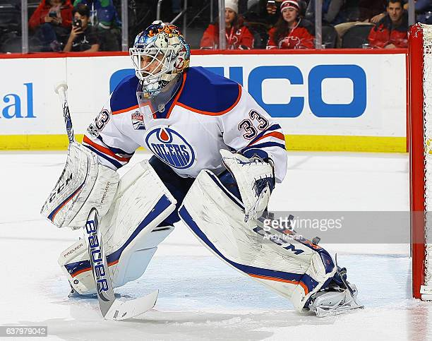 Cam Talbot of the Edmonton Oilers defends his net during the game against the New Jersey Devils at Prudential Center on January 7 2017 in Newark New...