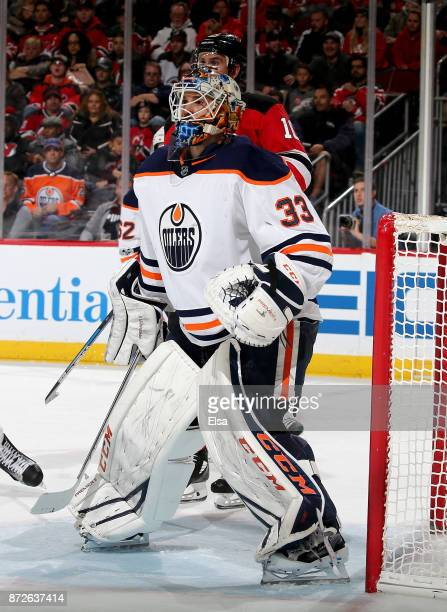 Cam Talbot of the Edmonton Oilers defends his net in the second period against the New Jersey Devils on November 9 2017 at Prudential Center in...