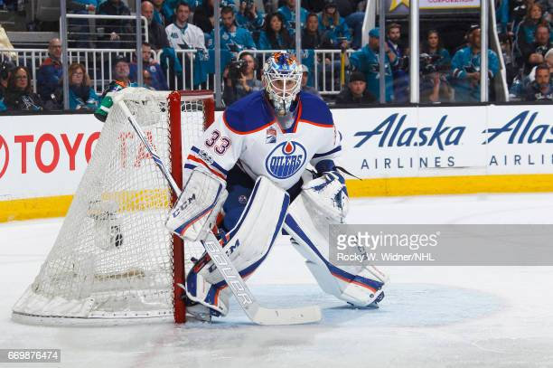 Cam Talbot of the Edmonton Oilers defends the net against the San Jose Sharks in Game Three of the Western Conference First Round during the 2017 NHL...