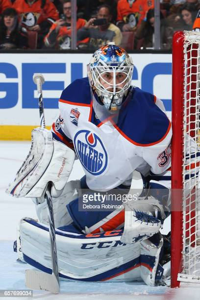 Cam Talbot of the Edmonton Oilers holds the crease during the game against the Anaheim Ducks on March 22 2017 at Honda Center in Anaheim California