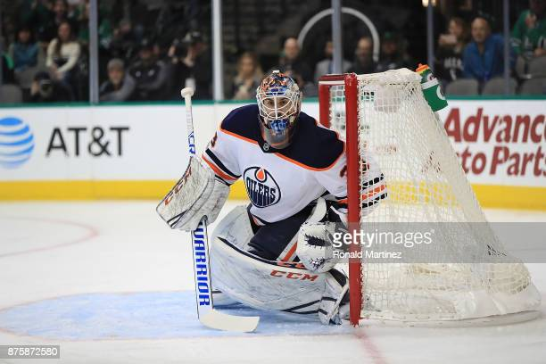Cam Talbot of the Edmonton Oilers in goal against the Dallas Stars in the first period at American Airlines Center on November 18 2017 in Dallas Texas