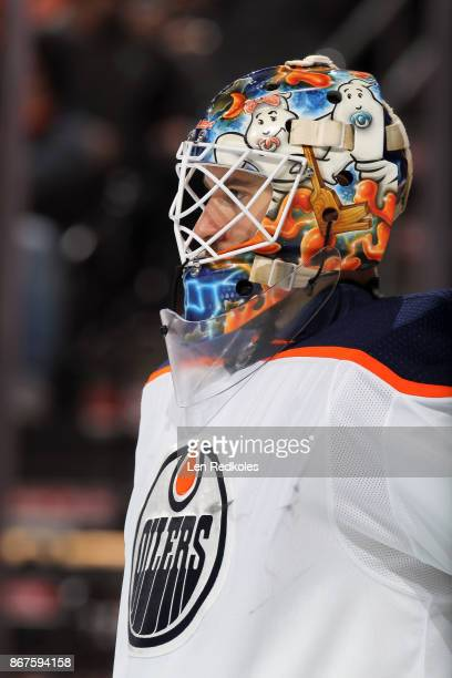 Cam Talbot of the Edmonton Oilers looks on against the Philadelphia Flyers on October 21 2017 at the Wells Fargo Center in Philadelphia Pennsylvania