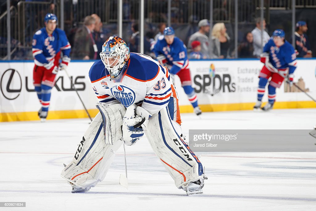 Cam Talbot #33 of the Edmonton Oilers looks on during pregame warmups before the game against the New York Rangers at Madison Square Garden on November 3, 2016 in New York City.