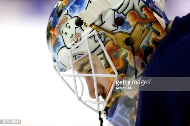 Cam Talbot of the Edmonton Oilers looks on in the second period against the New York Rangers during their game at Madison Square Garden on November...
