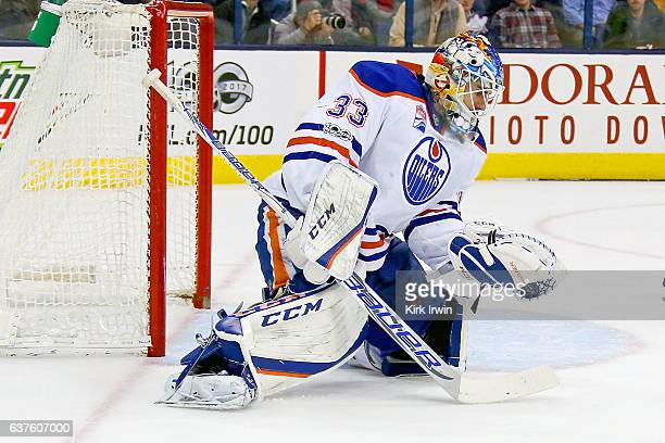 Cam Talbot of the Edmonton Oilers makes a save during the game against the Columbus Blue Jackets on January 3 2017 at Nationwide Arena in Columbus...