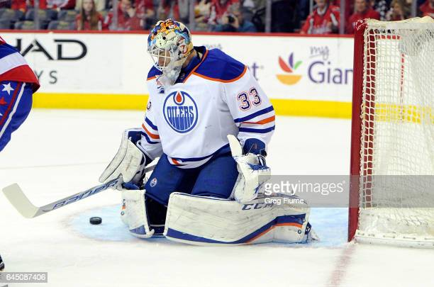 Cam Talbot of the Edmonton Oilers makes a save in the first period against the Washington Capitals at Verizon Center on February 24 2017 in...