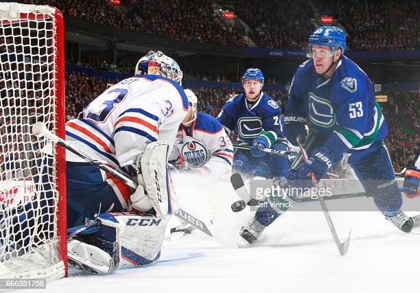 Cam Talbot of the Edmonton Oilers makes a save off the shot of Bo Horvat of the Vancouver Canucks during their NHL game at Rogers Arena April 8 2017...