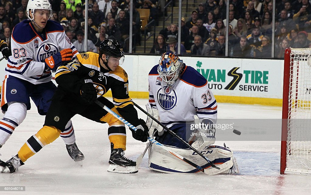 Cam Talbot #33 of the Edmonton Oilers makes a save on a shot by Frank Vatrano #72 of the Boston Bruins in the third period at TD Garden on January 5, 2017 in Boston, Massachusetts. The Oilers won 4-3.