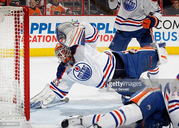 Cam Talbot of the Edmonton Oilers makes the second period save on Sean Couturier of the Philadelphia Flyers at the Wells Fargo Center on March 3 2016...