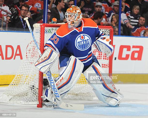 Cam Talbot of the Edmonton Oilers prepares to make a save during a game against the Montreal Canadiens on October 29 2015 at Rexall Place in Edmonton...