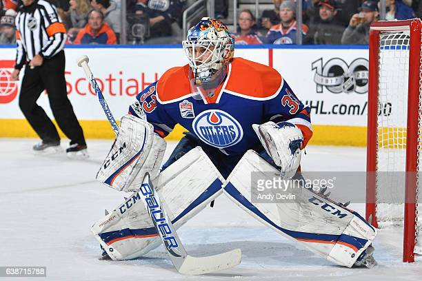 Cam Talbot of the Edmonton Oilers prepares to make a save during the game against the New Jersey Devils on January 12 2017 at Rogers Place in...