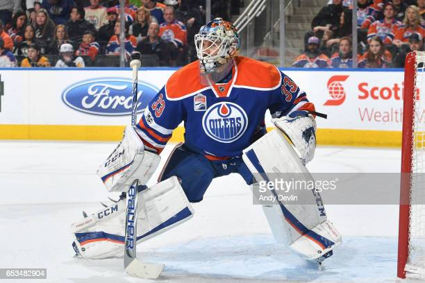 Cam Talbot of the Edmonton Oilers prepares to make a save during the game against the Pittsburgh Penguins on March 10 2017 at Rogers Place in...