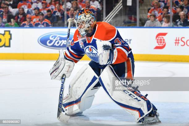 Cam Talbot of the Edmonton Oilers prepares to make a save during the game against the Los Angeles Kings on March 28 2017 at Rogers Place in Edmonton...