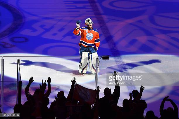 Cam Talbot of the Edmonton Oilers salutes the crowed after being selected as the first star of the game against the Calgary Flames on January 14 2017...