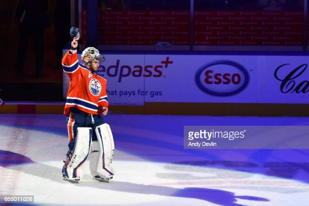 Cam Talbot of the Edmonton Oilers salutes the crowed after being selected the first star following the game against the Vancouver Canucks on March 18...