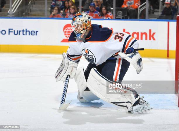 Cam Talbot of the Edmonton Oilers skates during the preseason game against the Calgary Flames on September 18 2017 at Rogers Place in Edmonton...