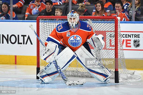 Cam Talbot of the Edmonton Oilers skates warms up prior to the game against the Vancouver Canucks on December 31 2016 at Rogers Place in Edmonton...