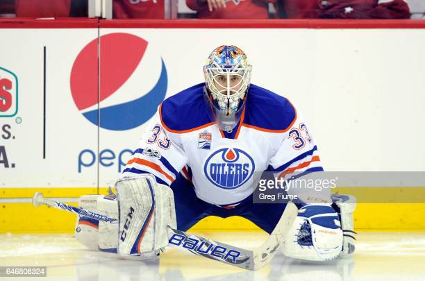 Cam Talbot of the Edmonton Oilers warms up before the game against the Washington Capitals at Verizon Center on February 24 2017 in Washington DC