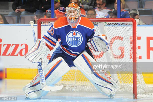 Cam Talbot of the Edmonton Oilers warms up prior to a preseason game against the Calgary Flames on September 21 2015 at Rexall Place in Edmonton...