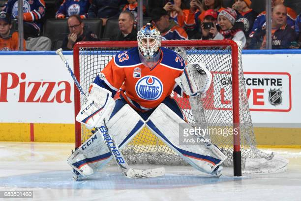 Cam Talbot of the Edmonton Oilers warms up prior to the game against the Detroit Red Wings on March 4 2017 at Rogers Place in Edmonton Alberta Canada