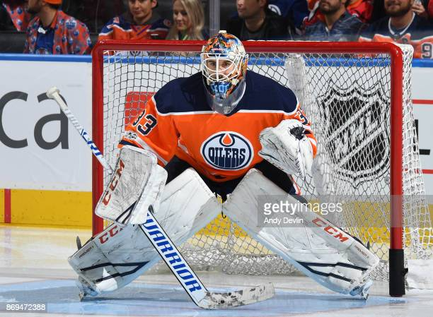 Cam Talbot of the Edmonton Oilers warms up prior to the game against the Washington Capitals on October 28 2017 at Rogers Place in Edmonton Alberta...