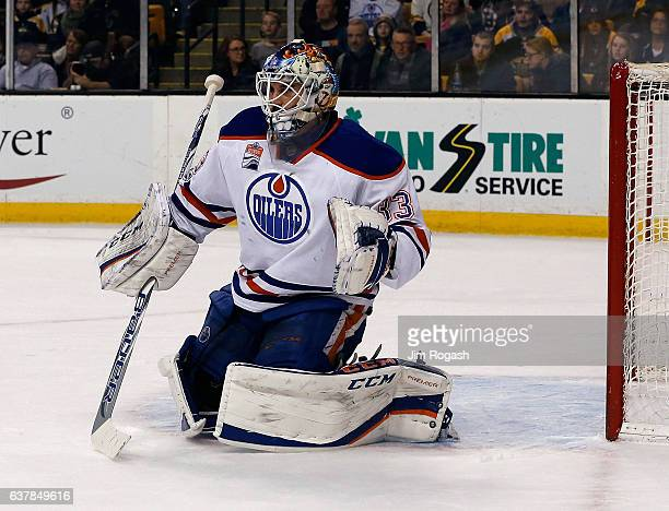 Cam Talbot of the Edmonton Oilers watches the action against Boston Bruins at TD Garden on January 5 2017 in Boston Massachusetts